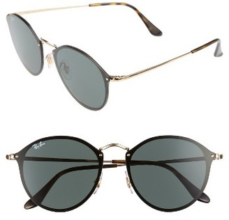Women's Ray-Ban Blaze 59Mm Round Sunglasses - Gold/ Green $170 thestylecure.com