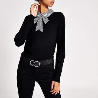 River Island Black houndstooth embellished collar top