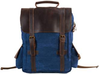 EAZO - Side Pockets Canvas Backpack in Blue