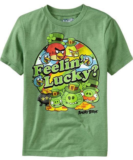 """Old Navy Boys Angry Birds™ """"I'm Feelin' Lucky"""" Tees"""