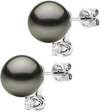 La Regis Jewelry 14k White Gold .10tcw Diamond 9-9.5mm Round Tahitian Cultured Pearl Stud Earrings
