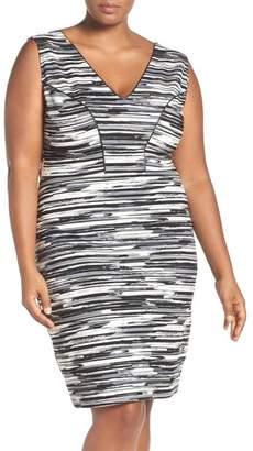 Tart Viera Piped Detail V-Neck Sheath Dress (Plus Size)