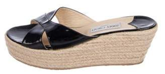 Jimmy Choo Patent Leather Espadrille Wedges Black Patent Leather Espadrille Wedges