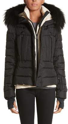 Moncler Beverley Quilted Down Jacket with Removable Genuine Fox Fur Trim
