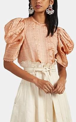 Ulla Johnson Women's Arleigh Cloqué Puff-Sleeve Top - Pink