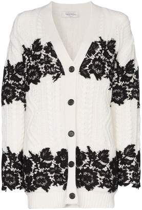 Valentino V-neck lace trimmed virgin wool cardigan