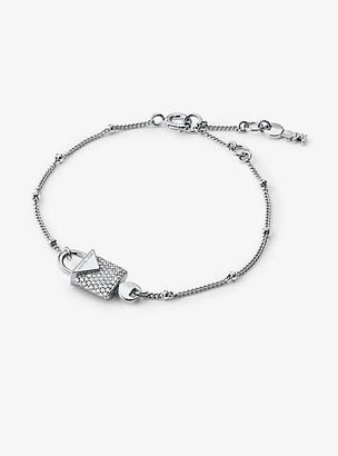 Michael Kors Precious Metal-Plated Sterling Silver Pave Lock Bracelet