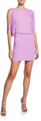Halston Cape-Sleeve Open-Back Mini Dress