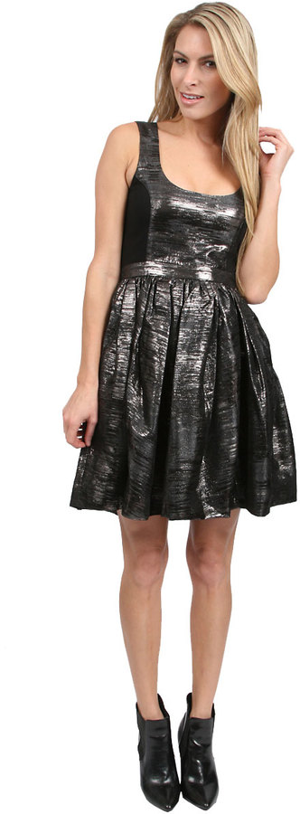 ADAM by Adam Lippes Metallic Dress in Gunmetal