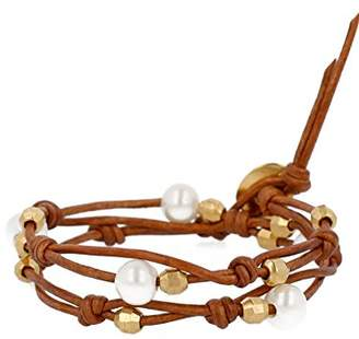 Chan Luu White Pearl Double Strand Leather Bracelet