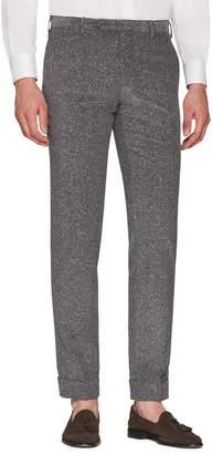 Zanella Curtis Flat Front Herringbone Cotton Trousers