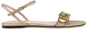 Gucci Metallic laminate leather Double G sandal