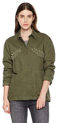 Royal Matrix Women's Lightweight Cotton Washed Military Jacket with Pearled Pocket Flaps(XL)