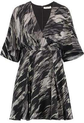 Halston Wrap-Effect Printed Silk Crepe De Chine Mini Dress