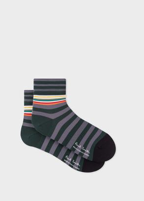 Paul Smith Mens Grey And Green Block-Stripe Cycling Socks