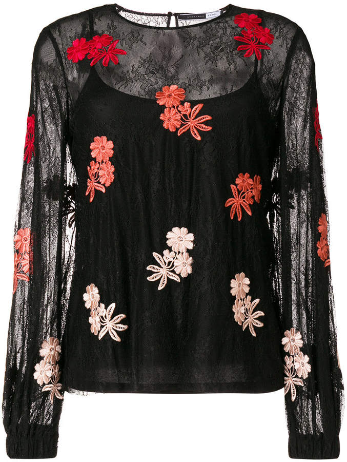 Sport Max Code floral embroidered blouse