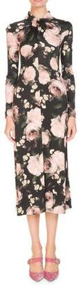 Erdem Nolene Long-Sleeve Dutch-Petal Jersey Midi Dress