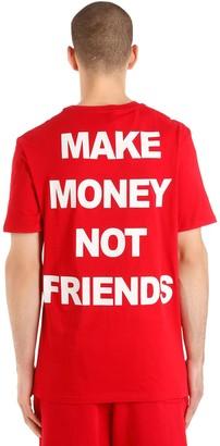Make Money Not Friends Logo Printed Cotton Jersey T-shirt