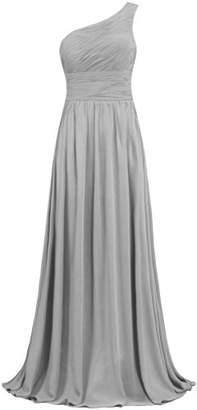 ANTS Women's Pleat Chiffon One Shoulder Bridesmaid Dresses Long Evening Gown Size 26W US