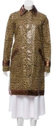 Dolce & Gabbana Leather-Trimmed Animal Print Coat