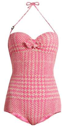 Fendi Prince of Wales-checked print bandeau swimsuit