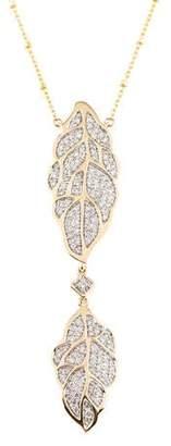 14K Diamond Leaf Pendant Necklace