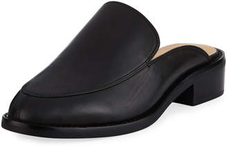 Neiman Marcus Ailey Napa Leather Flat Mule Slide, Black