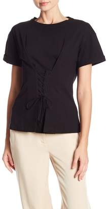 Laundry by Shelli Segal Short Sleeve Corset Detail Shirt