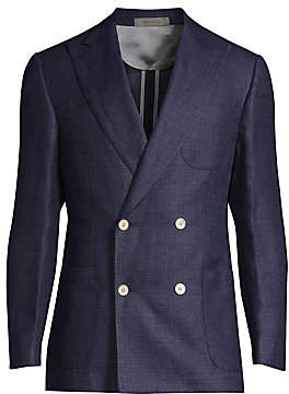 Corneliani Men's Wool Peak Lapel Double-Breasted Jacket