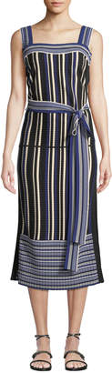 3.1 Phillip Lim Striped Tie-Front Sleeveless Midi Dress