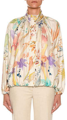 Agnona High-Neck Floral-Print Silk Bomber Jacket
