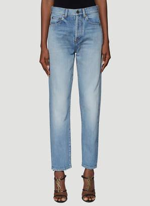 Saint Laurent Frayed Hem Denim Jeans in Blue
