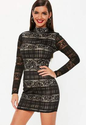 Missguided Black Lace High Neck Long Sleeve Mini Dress