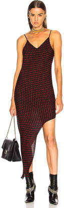 Amiri Asymmetrical Dot Silk Dress in Black & Red | FWRD