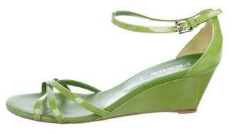 Prada Patent Leather Ankle Strap Wedges