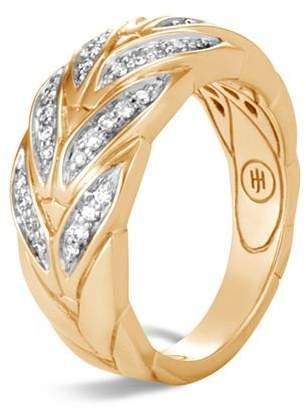 John Hardy 18K Yellow Gold Modern Chain Pavé Diamond Small Ring
