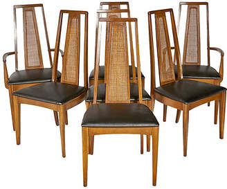 One Kings Lane Vintage 1960s Caned Back Dining Chairs - Set of 7