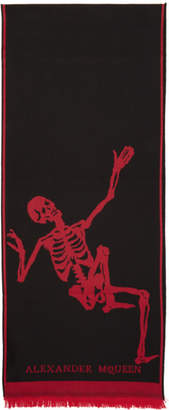 Alexander McQueen Black and Red Dancing Skeleton Scarf