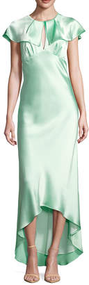 ABS by Allen Schwartz Crewneck Cap Sleeve High Low Gown