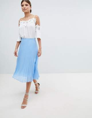 Jessica Wright Pleated Chiffon Midi Skirt