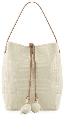 Nancy Gonzalez Medium Two-Tone Crocodile Bucket Bag w/ Rings