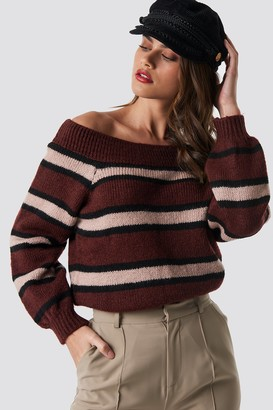 Na Kd Trend Color Striped Off Shoulder Knitted Sweater Blue