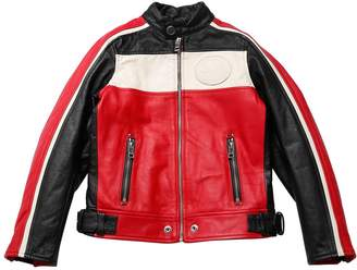 Diesel Color Block Leather Moto Jacket