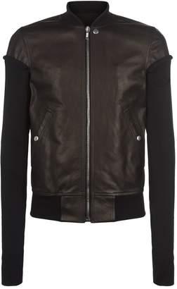 Rick Owens Knit Sleeve Leather Bomber Jacket