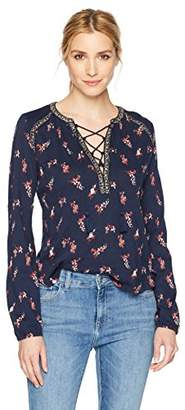 Lucky Brand Women's Ditsy Lace Up Peasant Top in