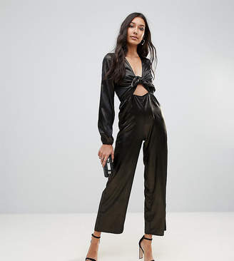 Oh My Love Tall Metallic Tie Front Jumpsuit