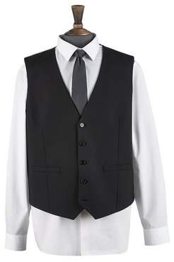 Mens Big & Tall Black Essential Stretch Tailored Fit Waistcoat