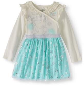 Frozen Long Sleeve Double Ruffle Neckline Tulle Skirt Tutu Dress (Toddler Girls)