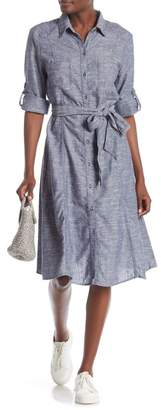 Max Studio Linen Blend Shirt Dress