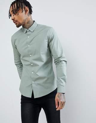 Asos Design Slim Shirt In Green With Button Down Collar